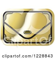 Clipart Of A Gold Clutch Hand Bag Purse Icon Royalty Free Vector Illustration by Lal Perera