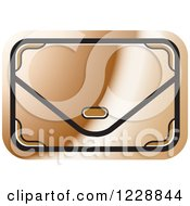 Clipart Of A Bronze Clutch Hand Bag Purse Icon Royalty Free Vector Illustration by Lal Perera