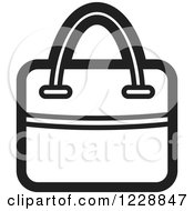 Clipart Of A Black And White Hand Bag Icon Royalty Free Vector Illustration by Lal Perera