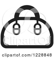 Clipart Of A Black And White Purse Icon Royalty Free Vector Illustration by Lal Perera