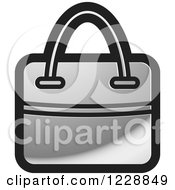 Clipart Of A Silver Hand Bag Icon Royalty Free Vector Illustration by Lal Perera
