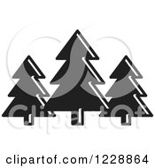 Clipart Of A Black And White Evergreen Trees Icon Royalty Free Vector Illustration