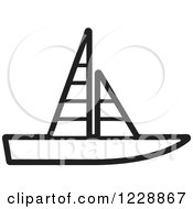 Clipart Of A Black And White Sailboat Icon Royalty Free Vector Illustration by Lal Perera