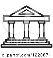 Clipart Of A Black And White Court House Building Icon Royalty Free Vector Illustration