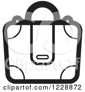 Clipart Of A Black And White Briefcase Bag Icon Royalty Free Vector Illustration by Lal Perera