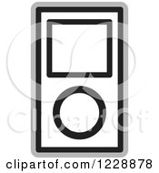 Clipart Of A Black And White Ipod Mp3 Music Player Icon Royalty Free Vector Illustration