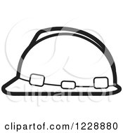 Clipart Of A Black And White Hardhat Helmet Icon Royalty Free Vector Illustration by Lal Perera