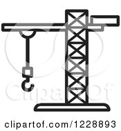 Clipart Of A Black And White Construction Crane Icon Royalty Free Vector Illustration