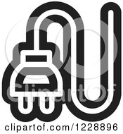 Clipart Of A Black And White Electrical Plug Icon Royalty Free Vector Illustration