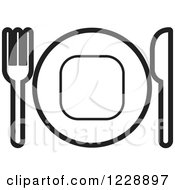 Clipart Of A Black And White Plate And Silverware Place Setting Icon Royalty Free Vector Illustration by Lal Perera