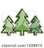 Green Evergreen Trees Icon