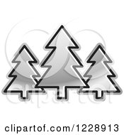 Clipart Of A Silver Evergreen Trees Icon Royalty Free Vector Illustration