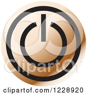 Clipart Of A Bronze Power Button Icon Royalty Free Vector Illustration