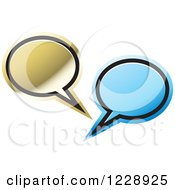 Clipart Of A Blue And Gold Speech Bubble Live Chat Icon Royalty Free Vector Illustration