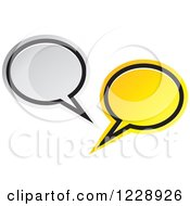 Clipart Of A Silver And Yellow Speech Bubble Live Chat Icon Royalty Free Vector Illustration