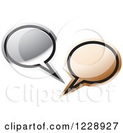 Clipart Of A Silver And Bronze Speech Bubble Live Chat Icon Royalty Free Vector Illustration