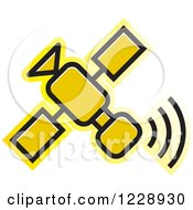 Clipart Of A Yellow Satellite Icon Royalty Free Vector Illustration
