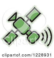 Clipart Of A Green Satellite Icon Royalty Free Vector Illustration
