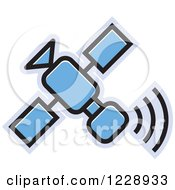 Clipart Of A Blue Satellite Icon Royalty Free Vector Illustration