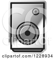 Clipart Of A Silver Music Speaker Icon Royalty Free Vector Illustration by Lal Perera