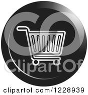 Clipart Of A Round Black And Silver Shopping Cart Icon Royalty Free Vector Illustration