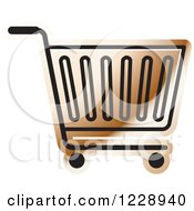 Clipart Of A Brown Shopping Cart Icon Royalty Free Vector Illustration
