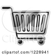 Clipart Of A Silver Shopping Cart Icon Royalty Free Vector Illustration