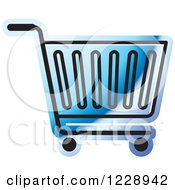 Clipart Of A Blue Shopping Cart Icon Royalty Free Vector Illustration
