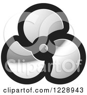 Clipart Of A Silver Propeller Or Fan Icon Royalty Free Vector Illustration