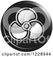 Clipart Of A Round Black And Silver Propeller Or Fan Icon Royalty Free Vector Illustration