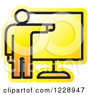 Clipart Of A Yellow Man Giving A Presentation Icon Royalty Free Vector Illustration