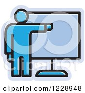 Clipart Of A Blue Man Giving A Presentation Icon Royalty Free Vector Illustration