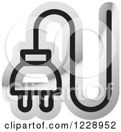 Clipart Of A Silver Electrical Plug Icon Royalty Free Vector Illustration