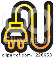 Clipart Of A Yellow And Orange Electrical Plug Icon Royalty Free Vector Illustration