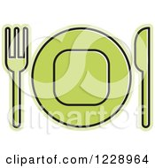 Clipart Of A Green Plate And Silverware Place Setting Icon Royalty Free Vector Illustration by Lal Perera