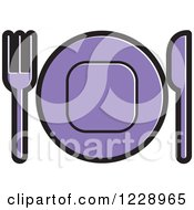 Clipart Of A Purple Plate And Silverware Place Setting Icon Royalty Free Vector Illustration by Lal Perera