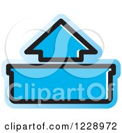 Clipart Of A Blue Out Or Upload Arrow Icon Royalty Free Vector Illustration by Lal Perera