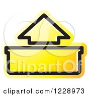 Clipart Of A Yellow Out Or Upload Arrow Icon Royalty Free Vector Illustration