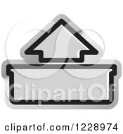 Clipart Of A Silver Out Or Upload Arrow Icon Royalty Free Vector Illustration