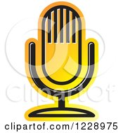 Clipart Of A Yellow And Orange Desk Microphone Icon Royalty Free Vector Illustration