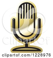 Clipart Of A Gold Desk Microphone Icon Royalty Free Vector Illustration by Lal Perera