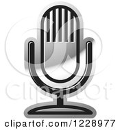 Clipart Of A Silver Desk Microphone Icon Royalty Free Vector Illustration