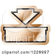 Clipart Of A Bronze In Or Download Icon Royalty Free Vector Illustration