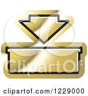 Clipart Of A Gold In Or Download Icon Royalty Free Vector Illustration