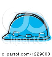 Clipart Of A Blue Hardhat Helmet Icon Royalty Free Vector Illustration by Lal Perera
