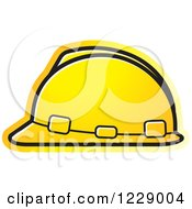 Clipart Of A Yellow Hardhat Helmet Icon Royalty Free Vector Illustration by Lal Perera