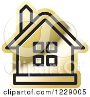 Clipart Of A Gold House Icon Royalty Free Vector Illustration