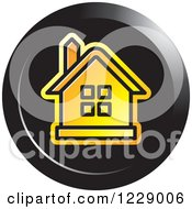 Clipart Of A Round Black And Orange House Icon Royalty Free Vector Illustration