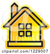 Clipart Of A Gradient Orange House Icon Royalty Free Vector Illustration