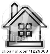 Clipart Of A Silver House Icon Royalty Free Vector Illustration